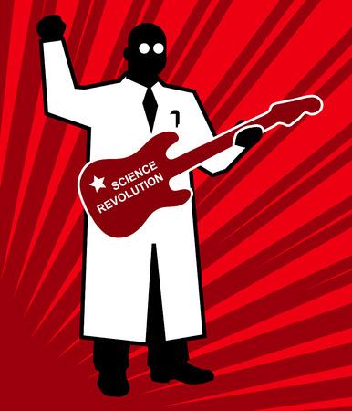 Science revolution, red   poster scientist Stock Vector - 7996043
