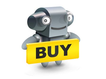 Robot button buy icon Stock Vector - 7996046