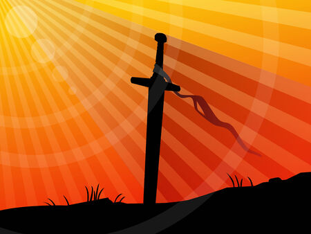 medieval sword: Background, sword in sunset Illustration