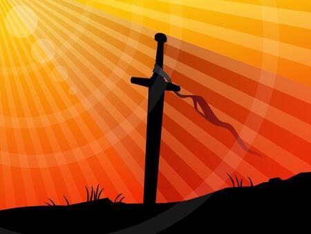 espadas medievales: Fondo, espada en la puesta de sol