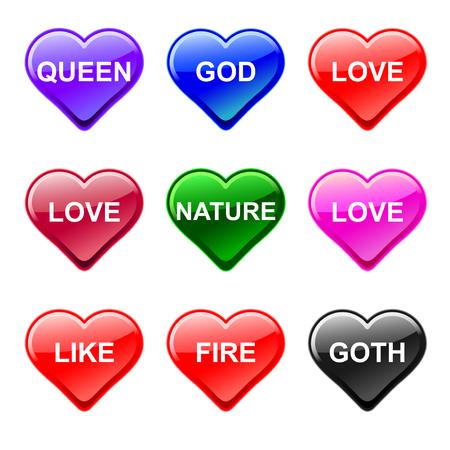 love heart button icons, genre Ilustra��o
