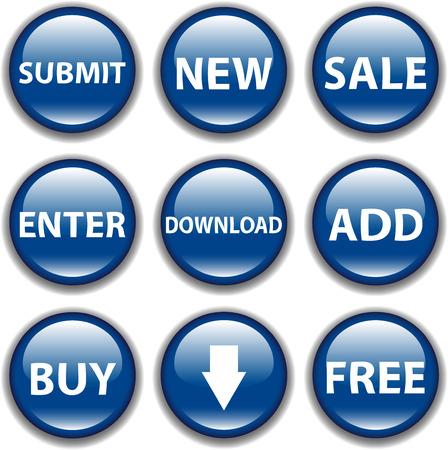 Vector button icon, blue Ilustra��o