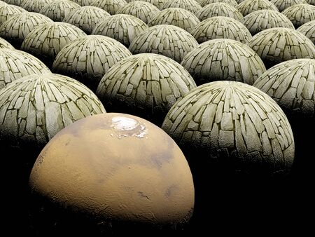 Abstract sphere background  space mars planet Stock Photo