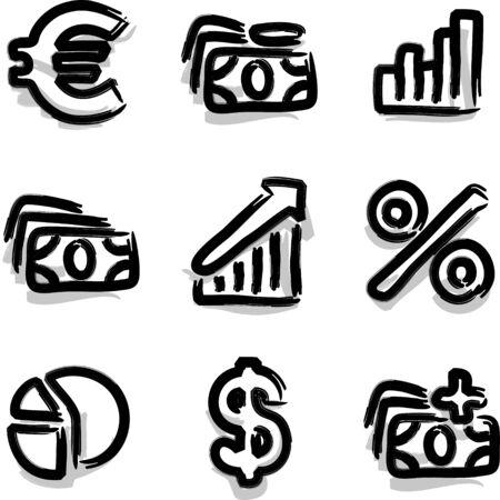 Web icons marker contour economy