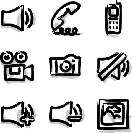Web icons marker contour media Vector