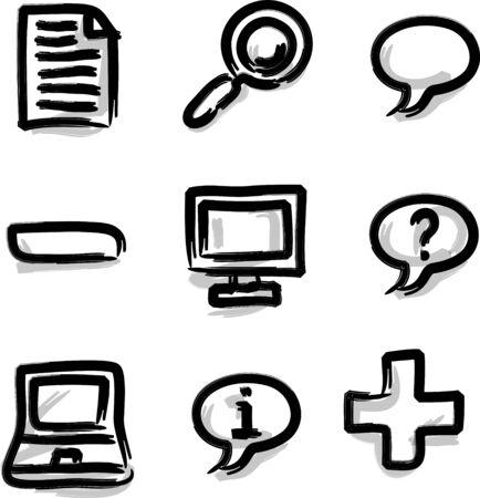 Web icons marker contour misc Vector
