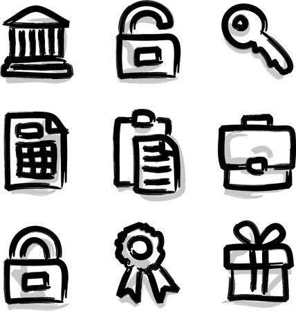 Web icons marker contour financial