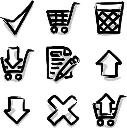 Web icons marker contour shop Ilustra��o