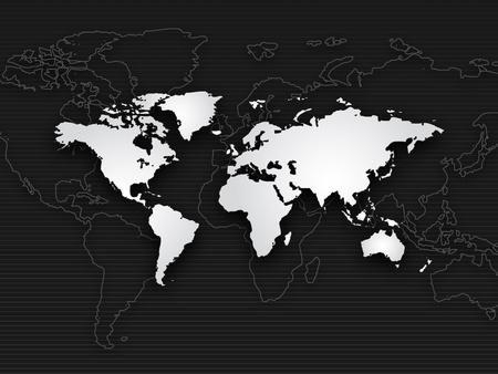 Background of world map, black white