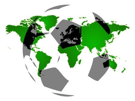 Background of world map, modern football Vector
