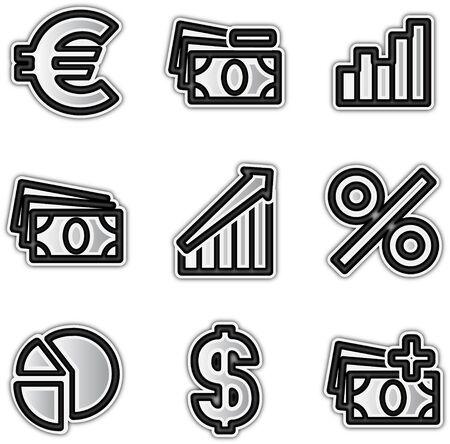 Web icons silver contour economy