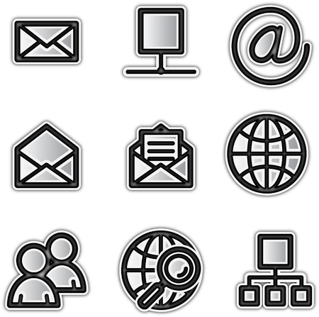 クライアント: ベクトルの web アイコン銀輪郭インターネット  イラスト・ベクター素材