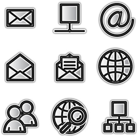 internet explorer: Vector web icons silver contour internet
