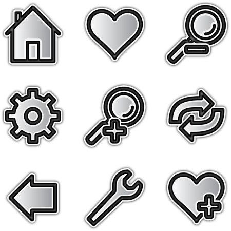 Web icons silver contour tools Ilustra��o