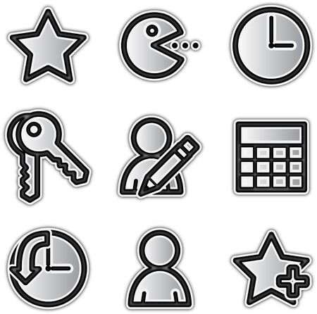 Vector web icons silver contour favorites