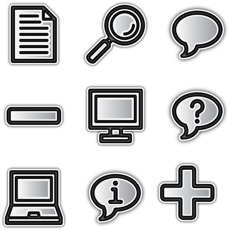 preview: Web icons silver contour misc