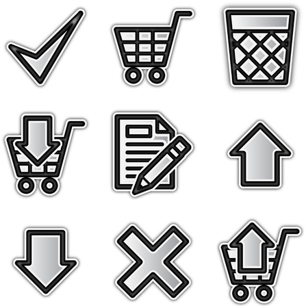 add to basket: Web icons silver contour shop Illustration