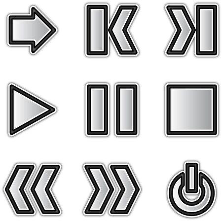 Vector web icons silver contour play Ilustra��o