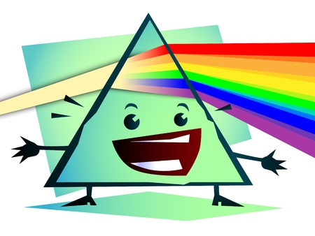 cuboid: cartoon Newton prism with rainbow Illustration