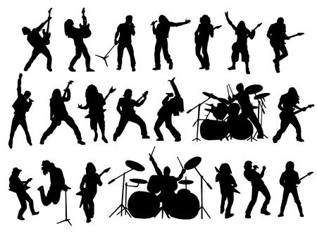 guitarists: rock and metal vector collection