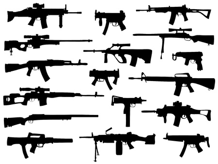 Weapon collection, automatic guns Vector