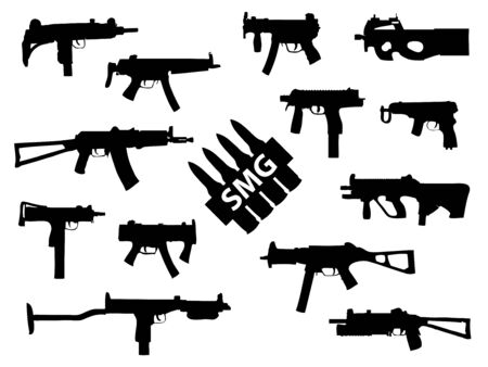 Weapon collection, submachine guns Stock Vector - 10364165
