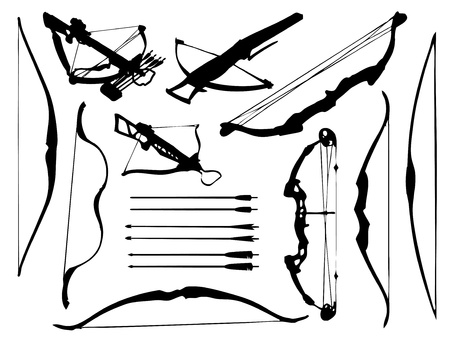 traditional weapon: Weapon collection, bow, crossbow and arrows Illustration