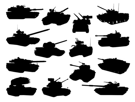 Weapon collection, battle tanks Vector