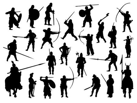 horseman: Colecci�n de armas, guerreros medievales Vectores