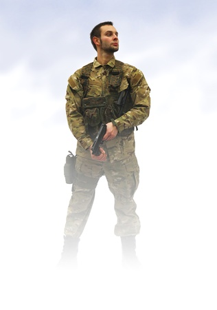 infantryman: patriot soldier in fog