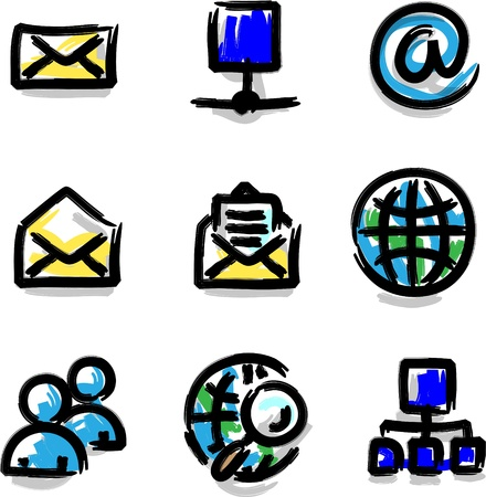 Web icons marker colour contour internet
