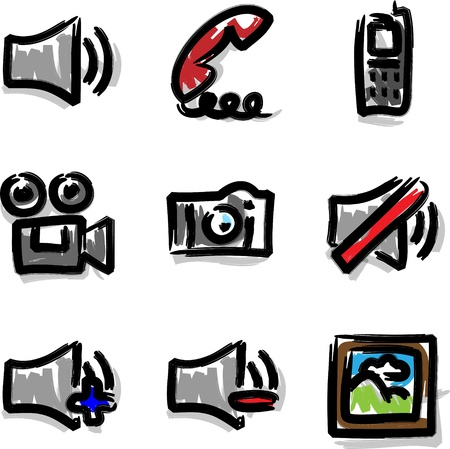Vector web icons marker contour media Stock Vector - 10376559
