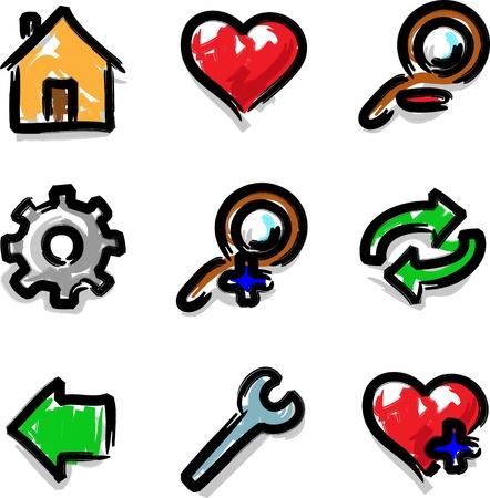 Vector web icons marker colour contour tools Vector