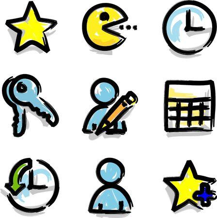favoritos: Web iconos de marcadores favoritos contorno de color