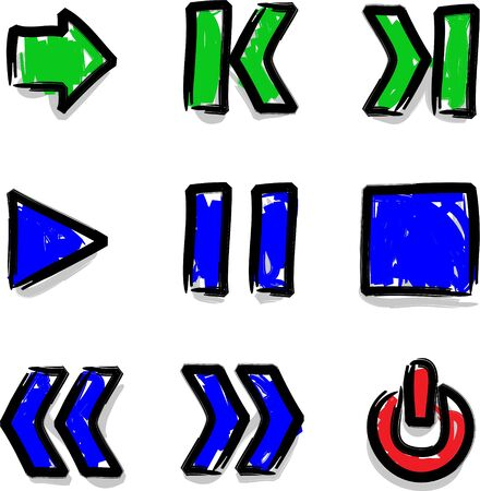 fast forward: Vector web icons marker colour contour play Illustration