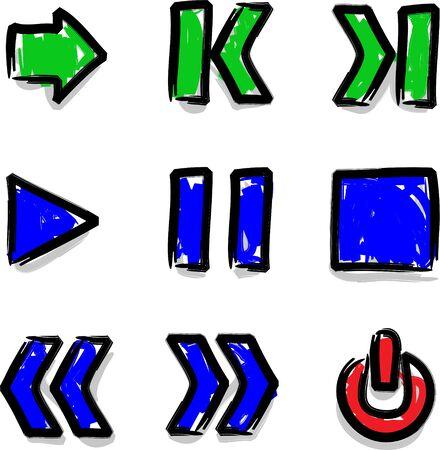 Vector web icons marker colour contour play Ilustra��o