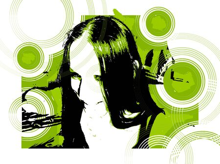 Vector picture, modern girl cool smile