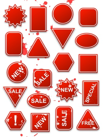 Vector red commerce stickers