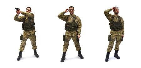 airsoft soldier white background Banco de Imagens