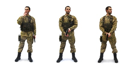 mercenary: brave us soldier white background Stock Photo