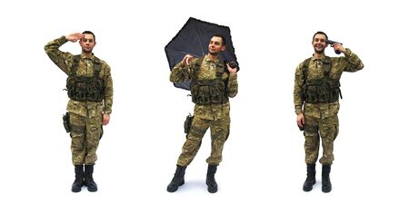 salute and crazy soldier white background Banco de Imagens
