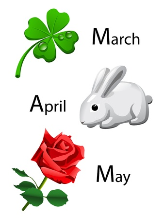 months of the year: spring calendar - march, april, may