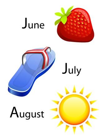 månader: sommarkalender - juni, juli, augusti Illustration