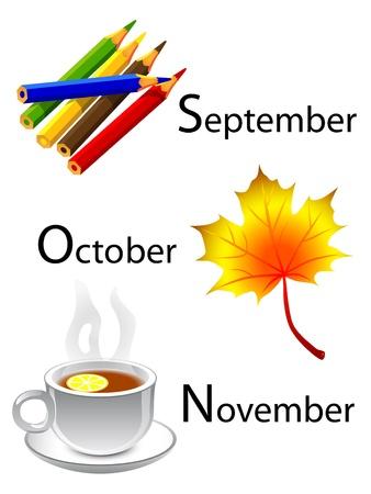 autumn calendar - september, october, november Stock Vector - 10385860