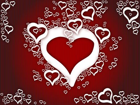 Background love hearts in red