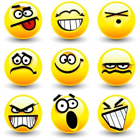 caras tristes: Sonrisas de caricatura Cool, iconos gestuales