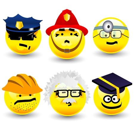 Cool cartoon smiles, professions Editorial