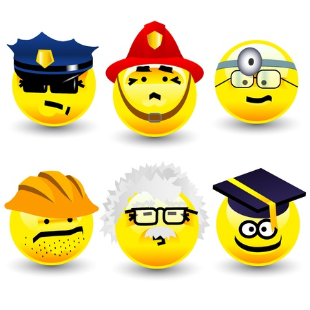 Cool cartoon smiles, professions Stock Photo - 10428719