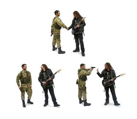 Soldier and rocker, war and peace, isolated Stock Photo