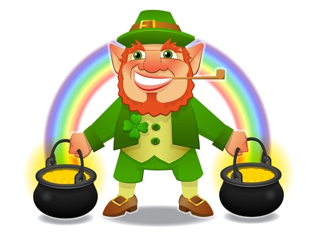 riches: lucky leprechaun with treasure and rainbow